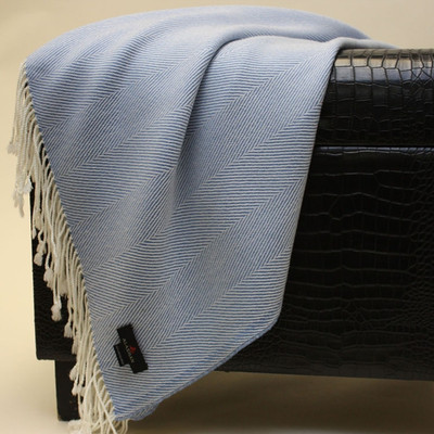 herringbone blue throw