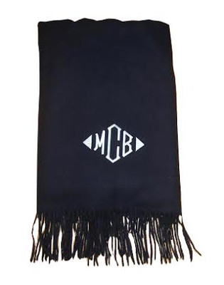 Cashmere wool monogrammed throw