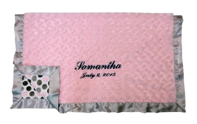 Luxe pink & gray dot baby blanket