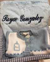 Cool Boy, Cardigan and Personalized Blanket Gift Basket - Bearington Bear Blanket, Hand Woven Customized Cardigan with Monogram