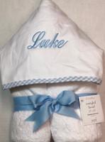 3Marthas Everykid Towel - Personalized Blue Gingham Hooded Towel