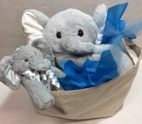 Personalized Baby Gift Basket - Basketful Full of Elephants