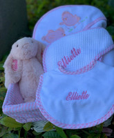Baby Girl Gift Basket  - Personalized Towels, Bib & Bunny