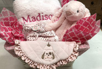 The Essentials for Baby Girl Personalized Gift Basket - Little Giraffe Blanket, Medium Jellycat Bunny, Bearington Bear Matching Minky Bib and Set of Burp Cloths
