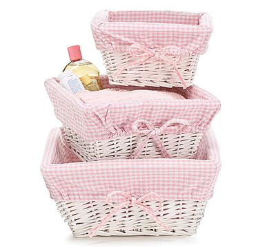 pink gingham willow basket set