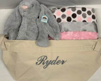 Personalized Canvas Tote Bag with Jellycat Bunny & Namely Newborns Baby Blanket