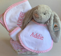 Baby Girl's 3 B's: Bathtime, Bib and Bunny - Personalized 3 Marthas Hooded Towel with Matching Washcloth, Bib and Large Bashful Bunny in Gray
