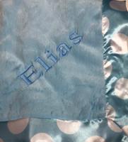 blue dot borderd baby blanket