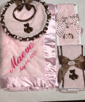 Personalized Pink Blanket,  Blb  & Two Burp Gift  Set-  Luxury Baby Gift