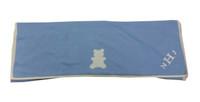 monogram on blue cashmere