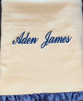 Organic Baby Blanket with Name - Blue Ruffle