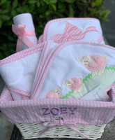 Three Personalized  Hooded Towels by 3 Martha's in a Personalized Basket