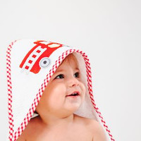 Baby Towel With Name - Red Firetruck