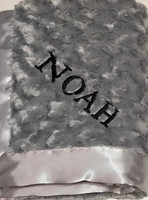 Personalized Posh Reversible Gray  Baby Blanket - Namely Newborns