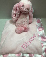 Personalized Peony Jellycat Bunny & Pink Blanket with Dot Border by Namely Newborns.