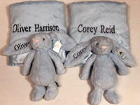 Personalized Twin Gift - Bearington Bear Silky Soft Blankets & Bashful Medium Jellycat
