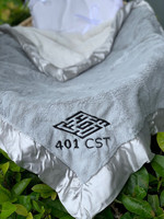 Personalized Gray Silky Soft Blanket with Logo