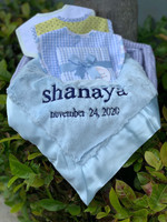 Deluxe Personalized Baby Blue luxe Blanket, 3Bibs & Burp Set Gift Basket