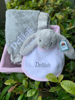 Pink And Gray Personalized Baby Gift Basket with Bunny , Bib, and Blanket