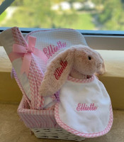 Deluxe 3Marthas Gift Basket of Towels, Bib, Blanket and Jellycat Bunny