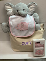Elephant Belly Blanket, Bib and Burp Set with Personalized Canvas Tote Baby