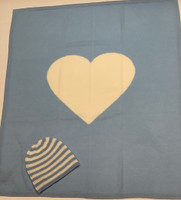 Personalized Blue Cashmere Heart Blanket & Striped Hat