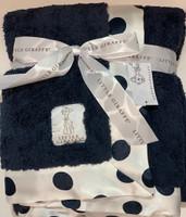 Navy New Dot Little Giraffe Personalized Baby Blanket