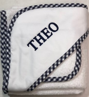 3Marthas Navy Check Trimmed Hooded Towel