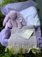 Lovely Lavender Gift Basket - Personalized Blanket, Bunny & Towel