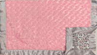 Luxe Pink & Gray Leopard Baby Blanket - Personalized Baby Gift