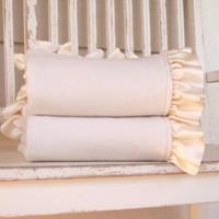 Organic Baby Blanket with Name - Cream Ruffled Baby Blanket