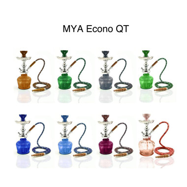 """The Mya Econo QT is a high quality, low cost alternative to the QT Mya Hookah family. Mya Econo QT features various colors (Amber,Dark Blue, Green, Grey, Olive Green, Pink, Purple, Sky Blue), molded aluminum stem, classic glass base and comes in a round black basket . Height is 13"""""""