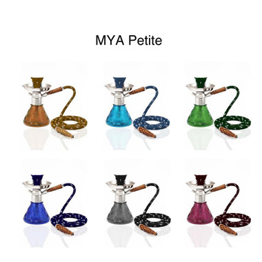 """The """"Petite"""" Mya Hookah is durable and it is shorter than most classic hookahs, making it very sturdy. With a Classic base to it in various colors (Amber, Dark Blue, Grey, Light Purple, Olive Green, Sky Blue)."""