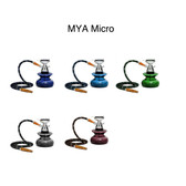 "Standing at 9"" tall, this little guy pack a big punch with some thick smoke! Comes equipped with a patent pending, one-of-a-kind stem design. The Hookah base is made classic Mya solid color glass(Blue<Grey,Light Purple, Olive Green, Sky Blue), and it has 2 hose capability. The new Mikro is packaged in a color box for easy and safe traveling."