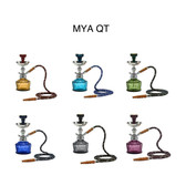 The Mya QT Comes with a Think Glass Base (Amber, Dark Blue, Grey, Light Purple, Olive Green, Sky Blue,Pink), Chrome / Stainless Steel Stem, Tobacco Burner, Matching Leather Hose, Chrome Plate and Tongs. When it comes to classic hookahs, the Mya QT shows style and charm, best best of all - quality and durability.