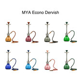 "The Dervish is 21"" tall. Has a classic glass base (Amber, Dark Blue, Green, Green, Grey, Light Purple, Olive Green, Pink, Sky Blue), aluminum stem, four hose capability and packaged in a Mya box."