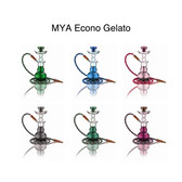"The Econo- Gelato is a high quality low cost alternative to the Gelato family. It features a molded aluminum stem classic glass base that come in those cotton candy colors and ice cream scoop shape(Amber, Dark Blue, Green, Grey, Light Purple, Olive Green, Pink, Sky Blue). At Mya cost does not determine our commitment to bring quality to all our customers. It comes with a Mya box with handle, tongs and matching leather hose. It can be converted into a multiple hose hookah by utilizing stem adaptors that contain the auto-seal system. The auto- seal system eliminates the need for rubber stoppers or flip caps when there are multiple users. (HEIGHT 13"")."