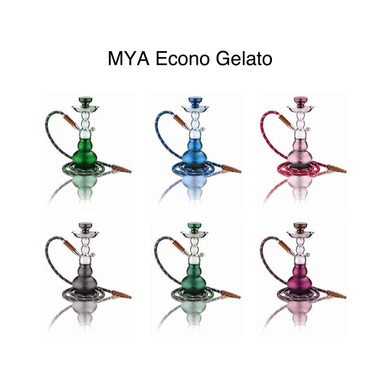 """The Econo- Gelato is a high quality low cost alternative to the Gelato family. It features a molded aluminum stem classic glass base that come in those cotton candy colors and ice cream scoop shape(Amber, Dark Blue, Green, Grey, Light Purple, Olive Green, Pink, Sky Blue). At Mya cost does not determine our commitment to bring quality to all our customers. It comes with a Mya box with handle, tongs and matching leather hose. It can be converted into a multiple hose hookah by utilizing stem adaptors that contain the auto-seal system. The auto- seal system eliminates the need for rubber stoppers or flip caps when there are multiple users. (HEIGHT 13"""")."""