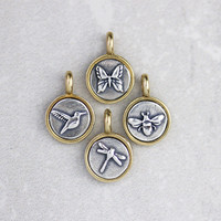 Tiny Silver and Bronze Birds + Bugs Charm