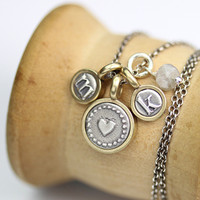 Tiny Heart + Letters Necklace