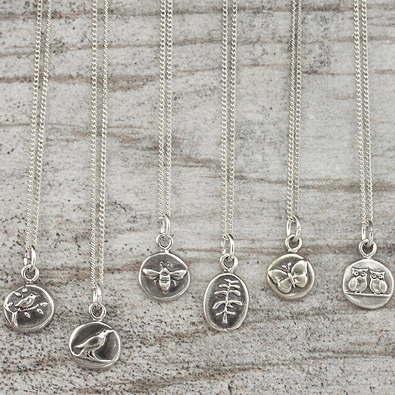 bee, pine tree, bird in tree, raven, sterling silver, charms