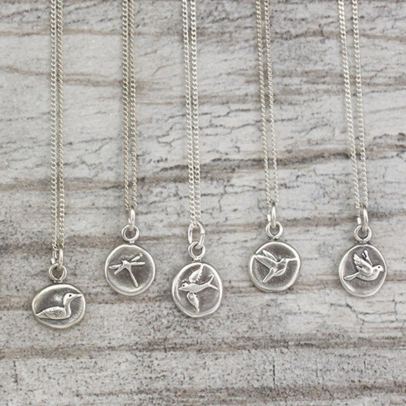 dragonfly, hummingbird, dove, swallow, loon, sterling silver, charms