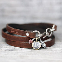 Chocolate Leather Wrap Bracelet