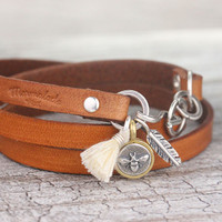 Camel Leather Wrap Bracelet