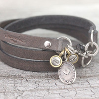 Gray leather wrap bracelet