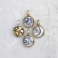 Tiny Silver & Bronze Nature Pendants