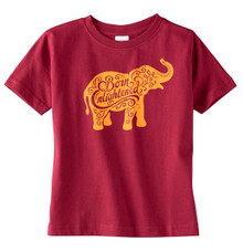 Born Enlightened Elephant T-Shirt in Garnet
