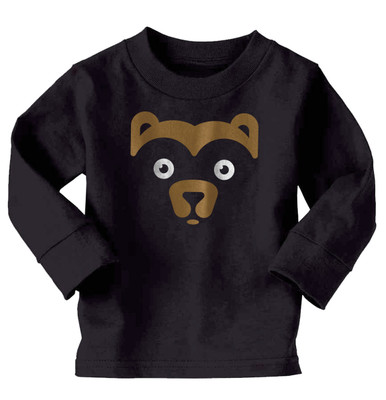 Bear Face on Long Sleeve Black T-Shirt