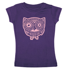 Cap Sleeve Owl T-Shirt in Purple for Girls