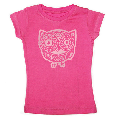 Cap Sleeve Owl T-Shirt in Hot Pink for Girls